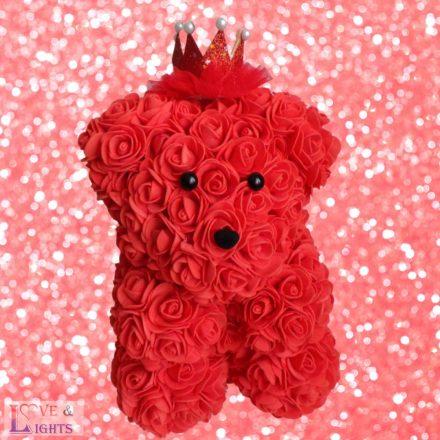 Piros rózsa maci - 25cm