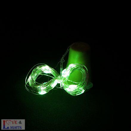Napelemes LED-es borosüveg világítás - zöld színű- 2m