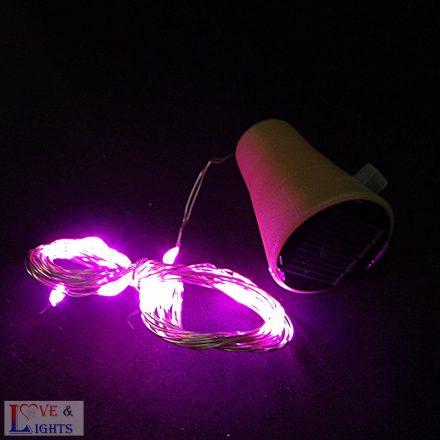 Napelemes LED-es borosüveg világítás - rózsaszín színű- 2m