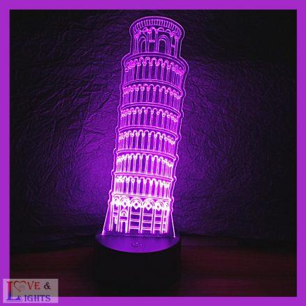 Pisai ferde torony mintás 3D illúzió lámpa