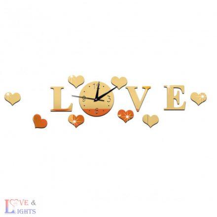 Love feliratú tükrös falmatrica, órával -arany