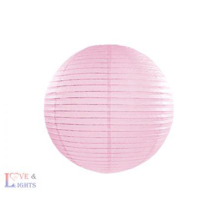 Világos rózsaszín papír lampion 25 cm