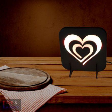 Szív spirál mintás fa éjjeli lámpa