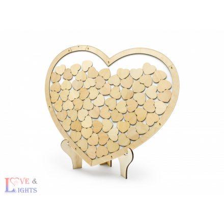 Szív alakú fa vendégkönyv