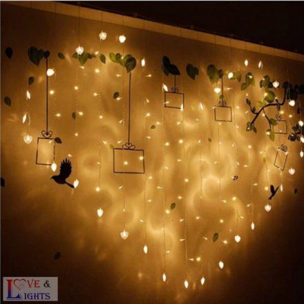 LED-es háttérfüggöny szív alakú - szívecskékkel
