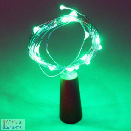 LED-es borosüveg világítás - zöld fényű- 2m