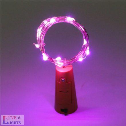 LED-es borosüveg világítás - rózsaszín fényű- 2m