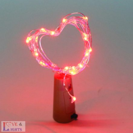 LED-es borosüveg világítás - piros fényű- 2m