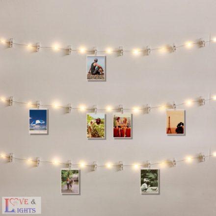 Fényképtartó LED szalag csipesszel - 3,8m