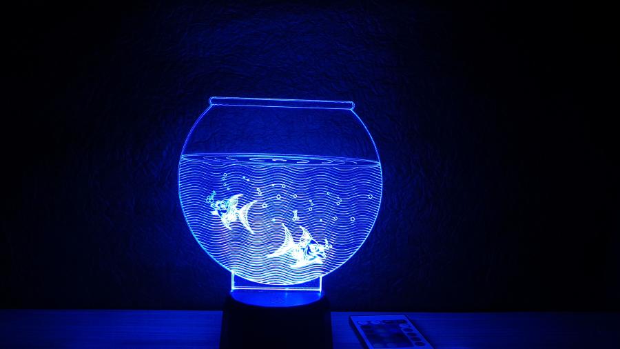 Akvárium alakú 3D illúzió lámpa - egyedi ajándék