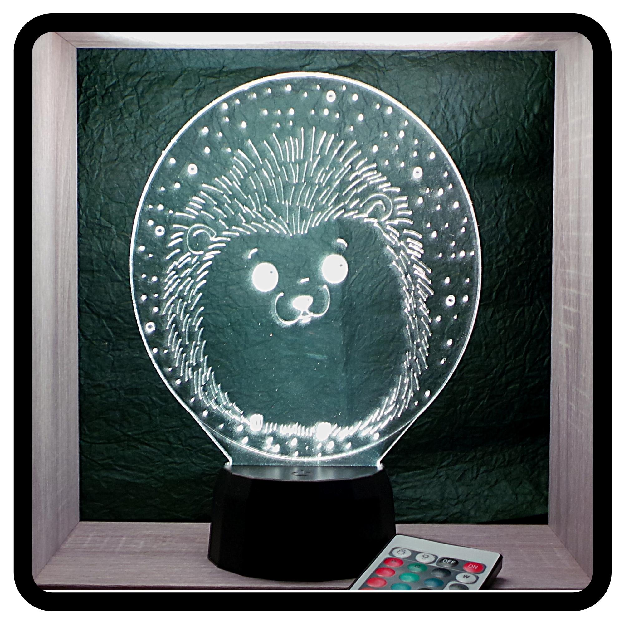 Baba sündisznó süni mintás 3d illúzió lámpa, love and lights, egyedi ajándékok boltja