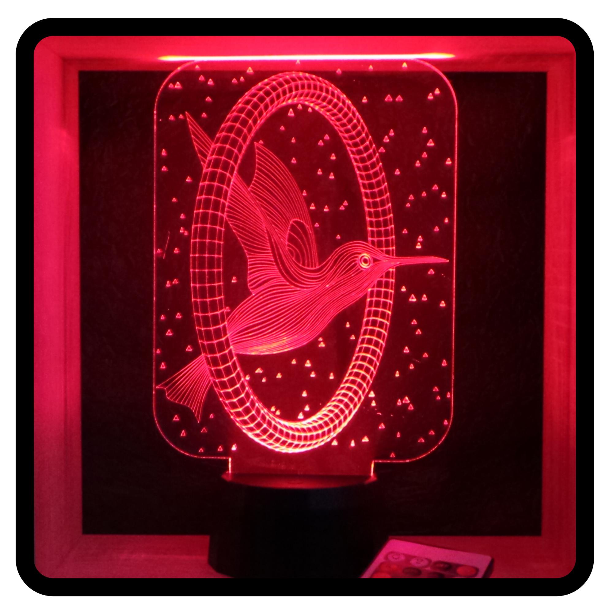 kolibri mintás 3D illúzió lámpa - love & lights - egyedi ajándékok boltja
