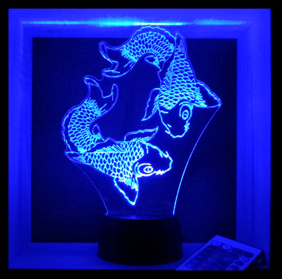 halak mintás 3d illúzió lámpa egyedi ajándékok boltja love and lights
