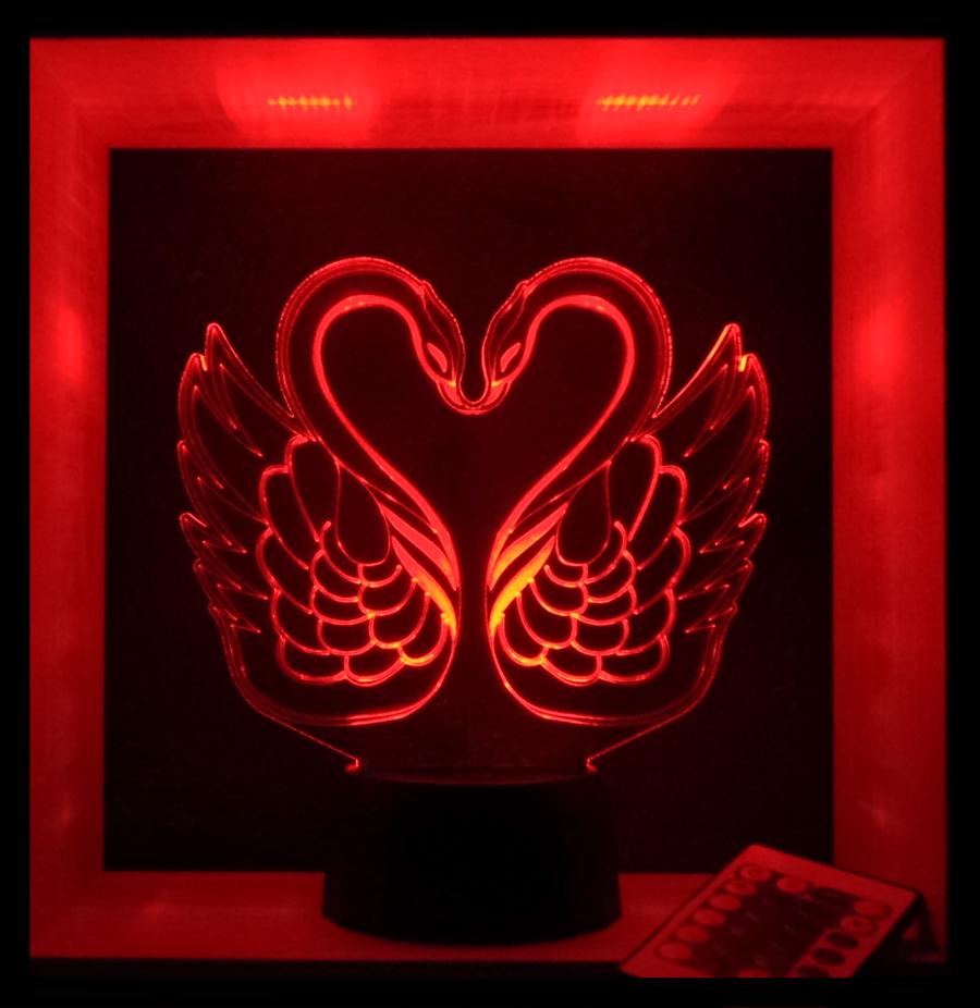 hattyú mintás 3d illúzió lámpa egyedi ajándé love and lights