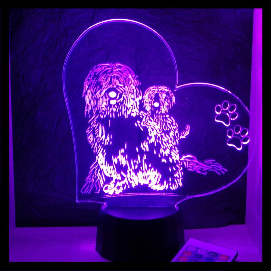 Komondor mintás kutya lámpa - 3d illúzió lámpa - illusoóion lamp - egyedi ajándékok boltja - love and lights