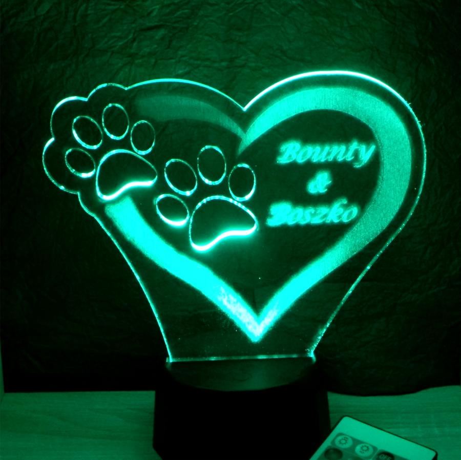 Mancs mintás egyedi feliratos 3d illúzió lámpa - illuson lamp - egyedi ajándékok boltja Love and Lights