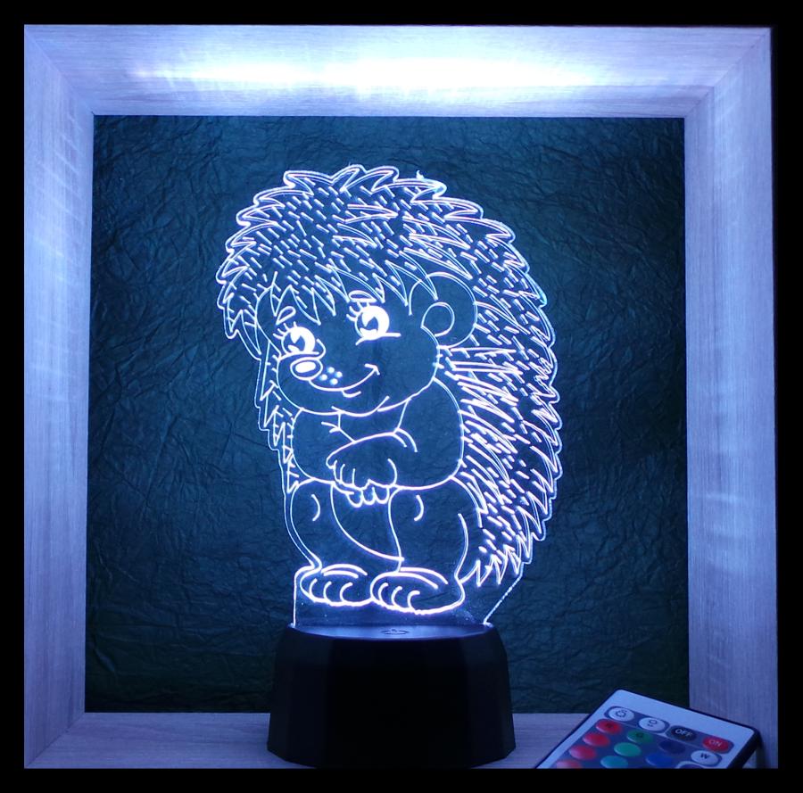 süni- sündisznó mintás 3d illúzió lámpa egyedi ajándék love and lights