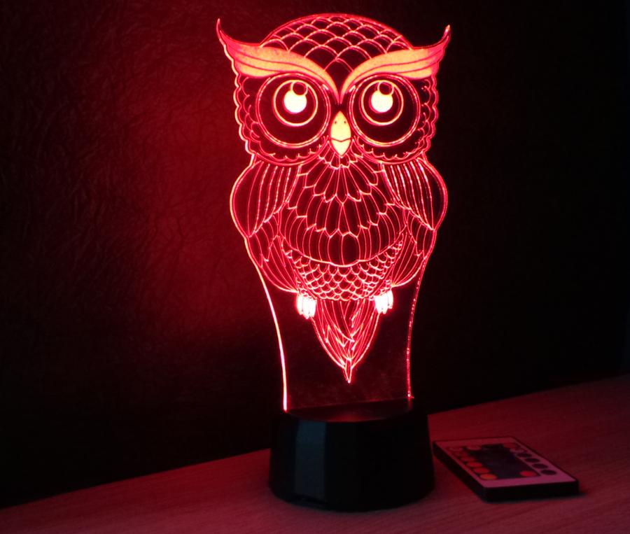 Bagoly mintás 3D illúzió lámpa- egyedi ajándék a bagoly szerelmeseinek - Love and Lights