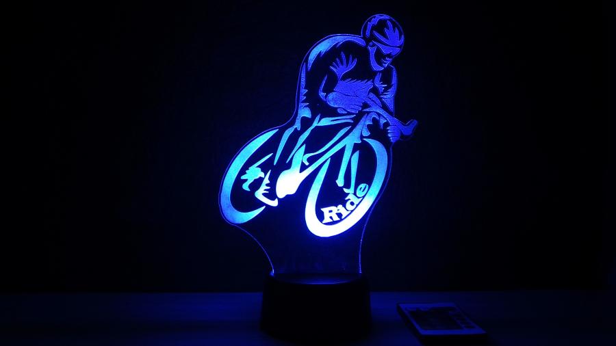 Bicikliző mintás 3D illúzió lámpa, egyedi ajándék a bicikli / kerékpár szerelmeseinek