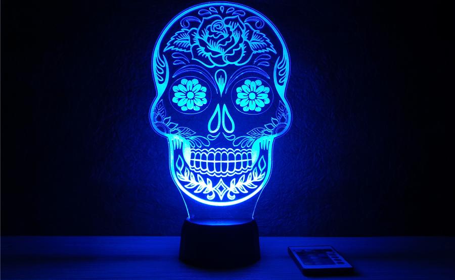 Csontvázfej alakú 3D illúziós lámpa _ egyedi ajándék