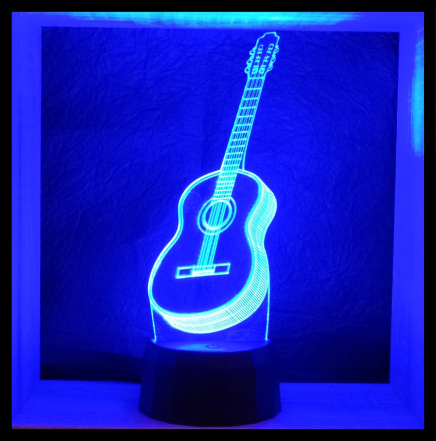 gitár mintás 3d illúzió lámpa - love & lights
