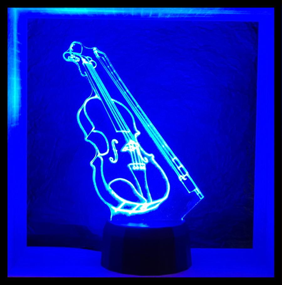 Hegedű mintás 3D illúzió lámpa - Love  Lights