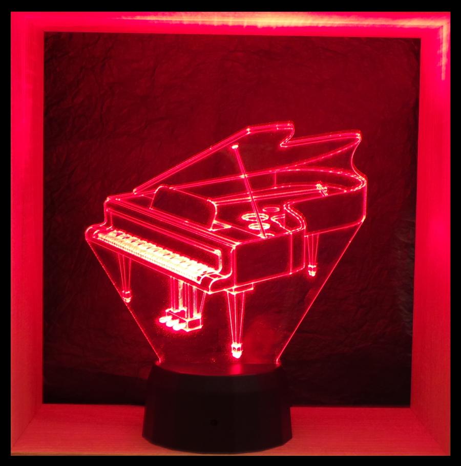 Zongora mintás 3D illúzió lámpa- Love & Lights