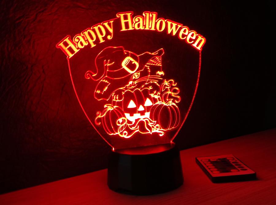 cica mintás halloweeni dekoráció 3d illúzió lámpa love and lights