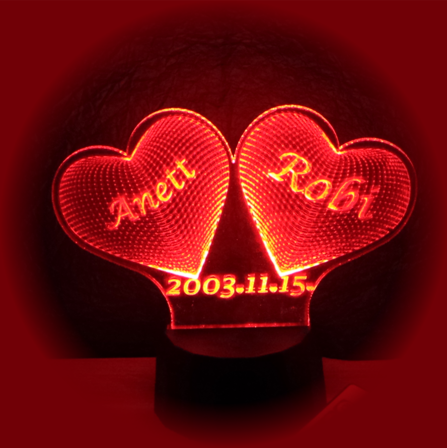 Két szív egyedi felirattal- egyedi ajándékok boltja - 3d illúzió lámpa- illusion lamp - love and lights