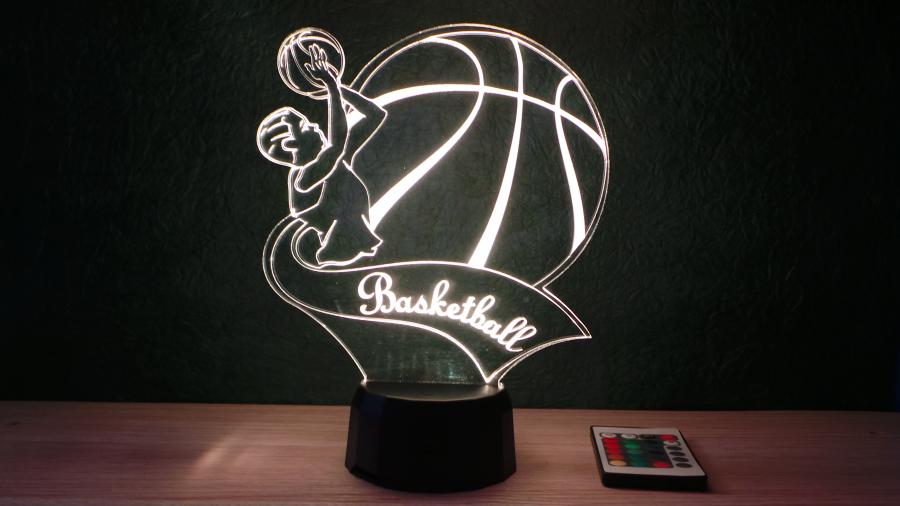 Kosárlabdázó fiú mintás 3D illúzió lámpa, egyedi ajándék