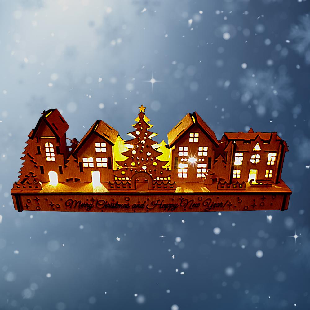 Karácsonyi téli kis falu led világítással, karácsonyi dekoráció, LED