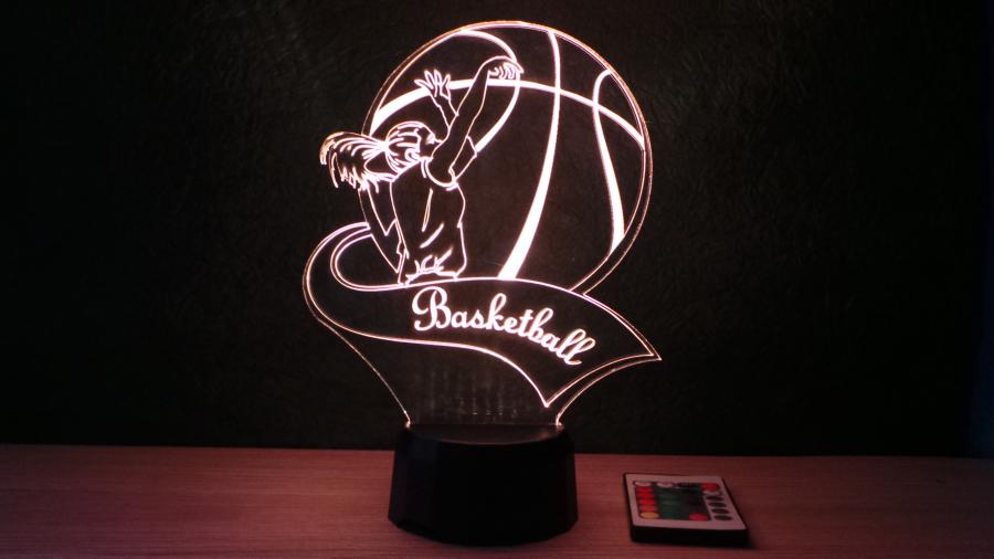 lány kosárlabdázó mintás 3d illúzió lámpa egyedi felirattal, különleges ajándék