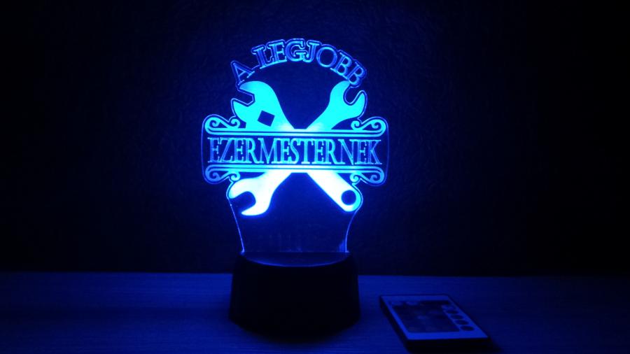 Legjobb ezermesternek - egyedi felirattal - különleges ajándék - 3D illúziós lámpa- egyedi ajándékötletek