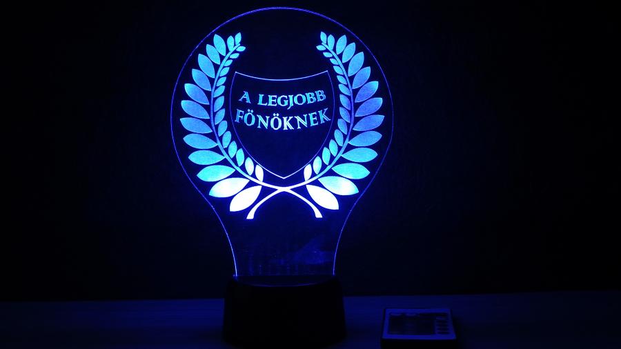 legjobb főnöknek - egyedi felirattal - különleges ajándék - 3D illúzió lámpa