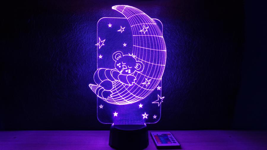 Maci holdacskán alakú 3D illúzió lámpa - különleges ajándék gyermekeknek - tökéletes éjjeli lámpa kicsiknek és nagyoknak