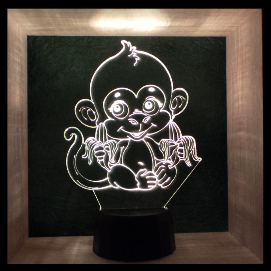 majom mintás 3d illúzió lámpa - egyedi ajándék - love and lights