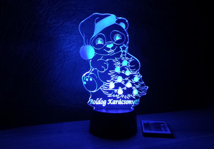 Maci mintás karácsonyi lámpa egyedi felirattal love and lights