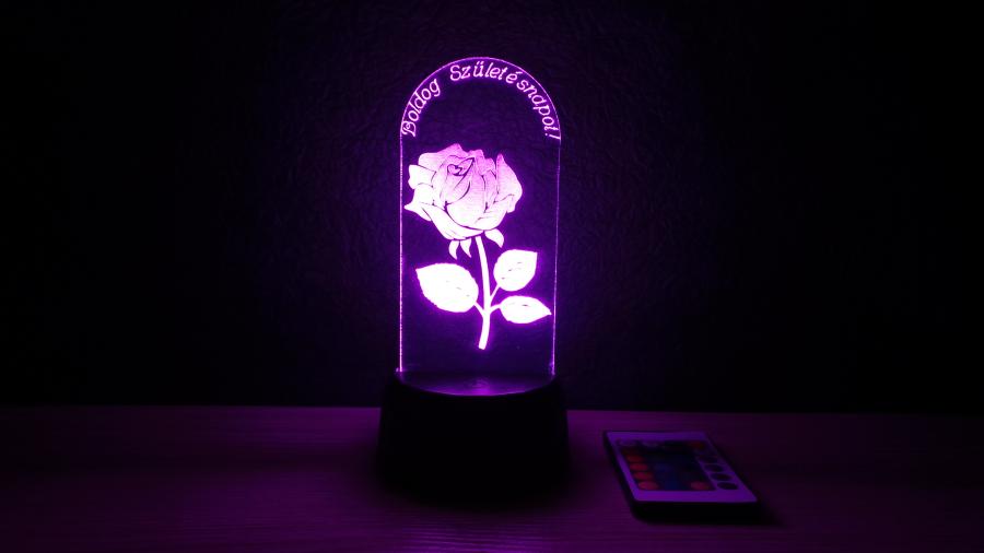 3D illúzió lámpa - rózsa mintával - kérhető felirattal - éjjeli lámpa