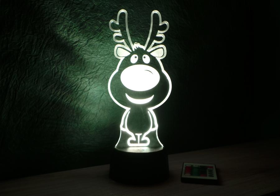 Baba szarvas mintás karácsonyi 3D illúzió lámpa -egyedi ajándék - Love and Lights