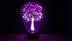 Szívecskés fa mintás 3D illúzió lámpa, különleges ajándék kicsiknek és nagyoknak egyaránt, ajándékötlet anyukáknak