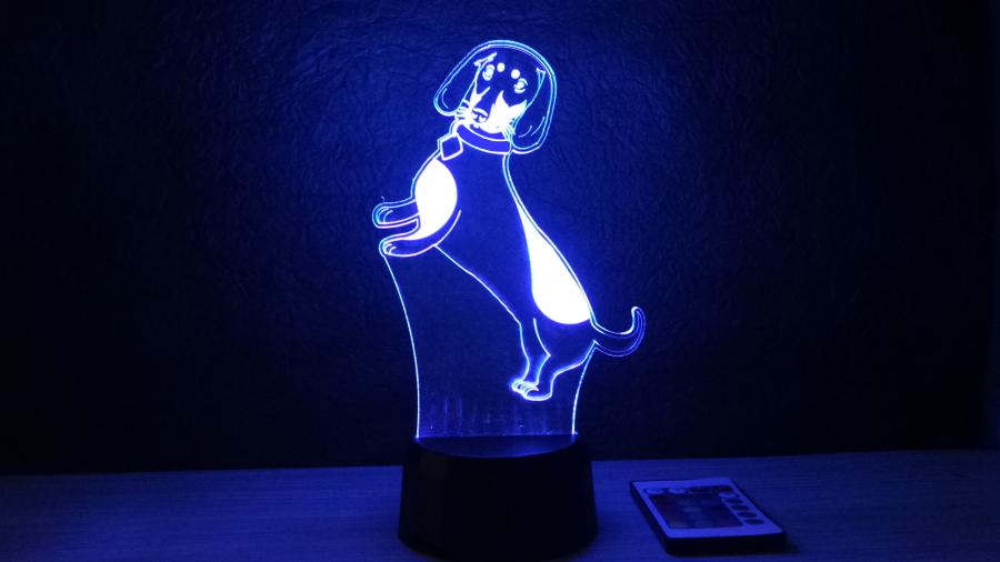 Tacsko mintás 3d illúzió lámpa egyedi nyakörv felirattal- különleges ajándék