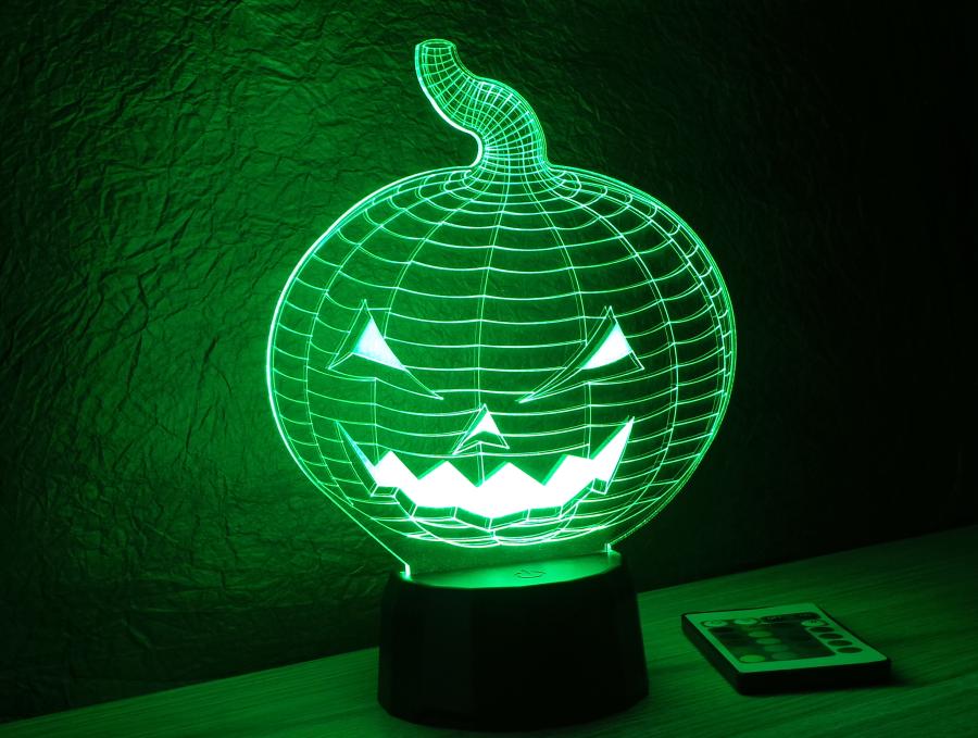 Halloweeni tök mintás 3d illúzió lámpa egyedi dekoráció love and lights